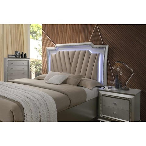 ACME Kaitlyn Eastern King Bed with LED Headboard in PU and Champagne