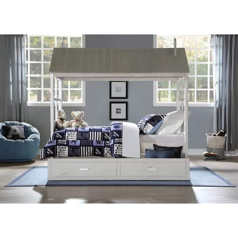 ACME Tree House II Twin Bed in Weathered White and Washed Gray