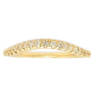 14K Yellow Gold Bezel Set Diamond Eternity Curved Rring