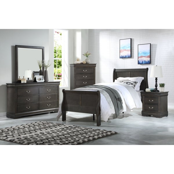 ACME Louis Philippe Nightstand in Dark Gray
