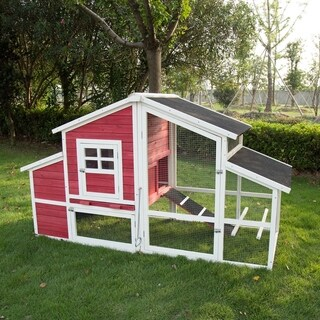 "Kinbor 45"" Large Backyard Chicken Coop Hen House with Removable Tray, Run Area & Nesting Box"