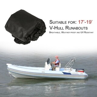 17' 18' 19' V-Hull Fish - Ski Trailerable Boat Cover Black Color All Weather