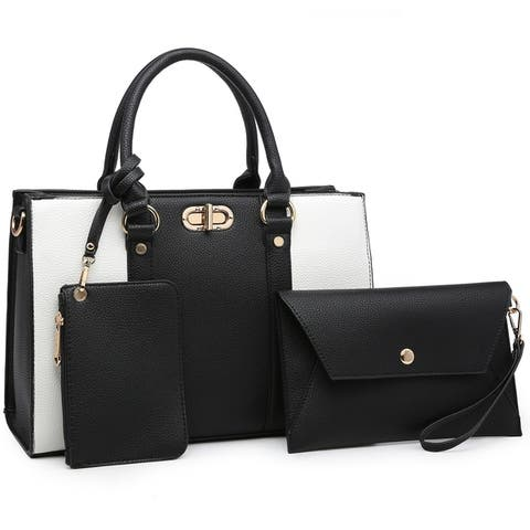 Dasein two tone Medium Satchel with Matching wallet and Wristlet