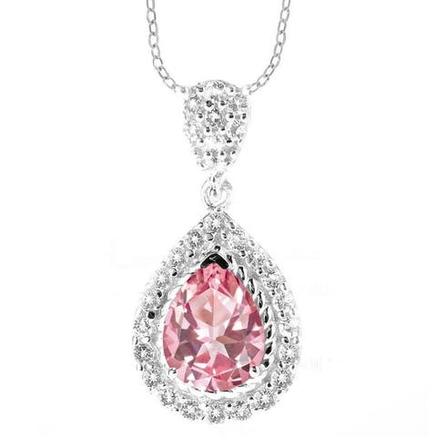 """Sterling Silver with Pink Topaz and White Topaz Halo Pendant Necklace with 18 """" Chain"""