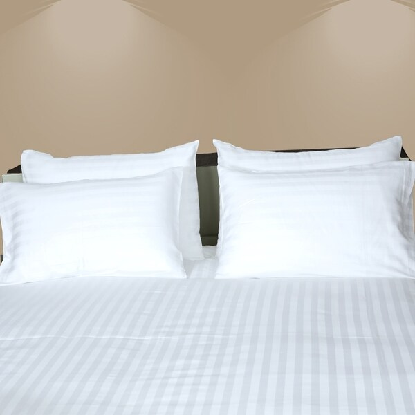 100/% Cotton Satin Stripe 300TC Solid White King size Bedsheet /& 2 Pillow Covers