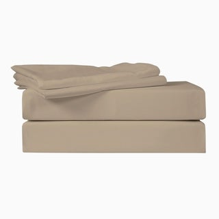 Just Linen 400 Thread Count 100% Cotton Sateen, Solid Bedding 4 Piece Sheet Set with Deep Pocketed Fitted Sheet.