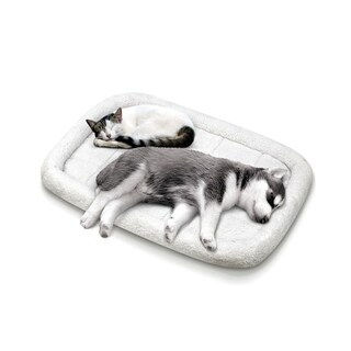 Fluffy Paws Foldable Soft Fleece Pet Crate Bed Mat with Accessories Pocket for Dogs & Cats, Machine Washable, Anti-Skid Bottom