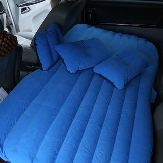 Car Backseat Inflatable Bed Car Air Mattress Comfortable Sleep Bed With Pillow - Blue