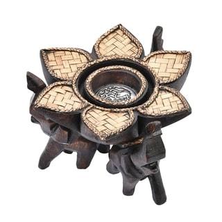 Handmade Triple Elephant Lotus Blossom Carved Rain Tree Wooden Candle Holder (Thailand)