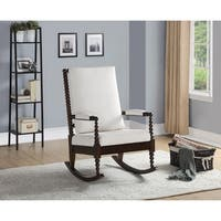 Copper Grove Drnis Rocking Chair with Cream Fabric and Walnut Wood Frame