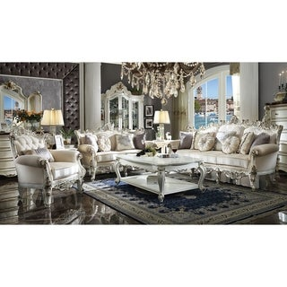 ACME Picardy II Antique Pearl Fabric Chair with Accent Pillow