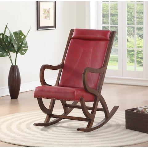 Carbon Loft Ariel Rocking Chair in Burgundy PU and Walnut