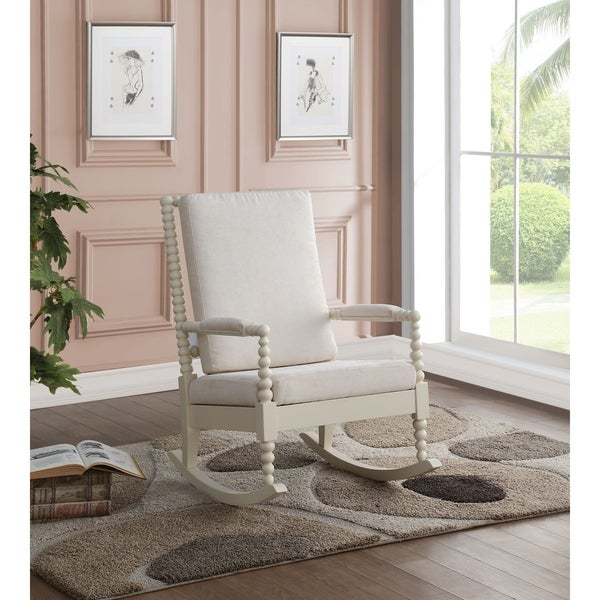 Shop Acme Tristin Rocking Chair In Cream Fabric And White Free