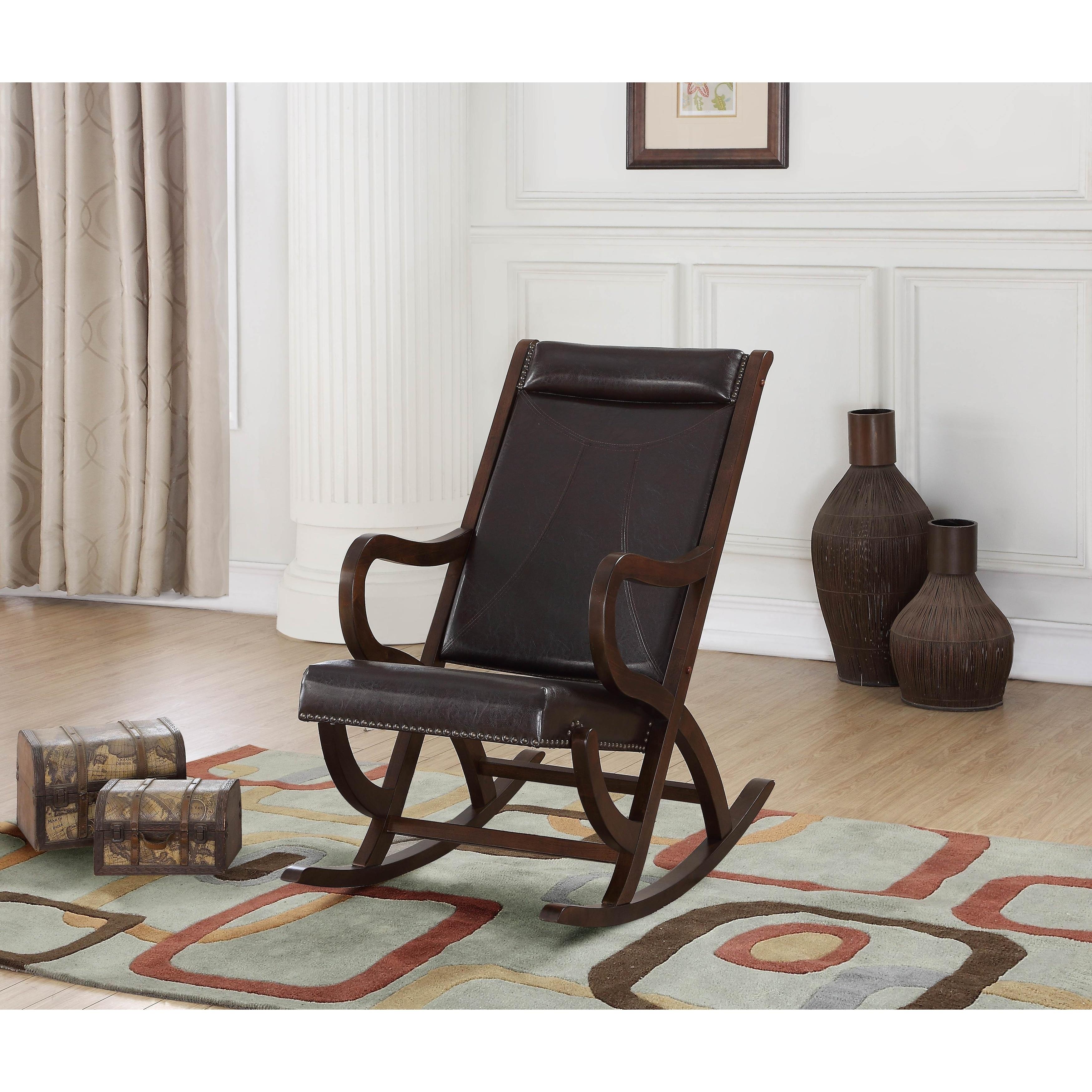 Excellent Carbon Loft Ariel Rocking Chair In Espresso Pu And Walnut Squirreltailoven Fun Painted Chair Ideas Images Squirreltailovenorg
