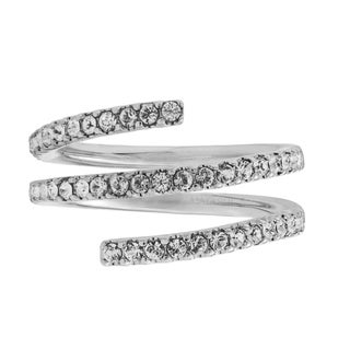 White Gold Plated Luxury Coiled Ring Designed with Sparkling Crystals by Matashi (Size 5,6,7)