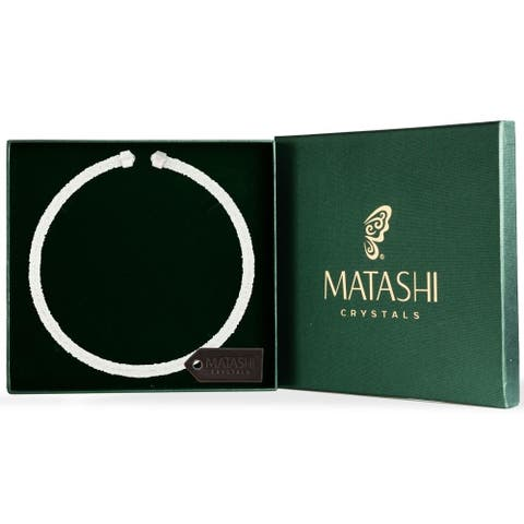 White Glittery Crystal Choker Necklace By Matashi