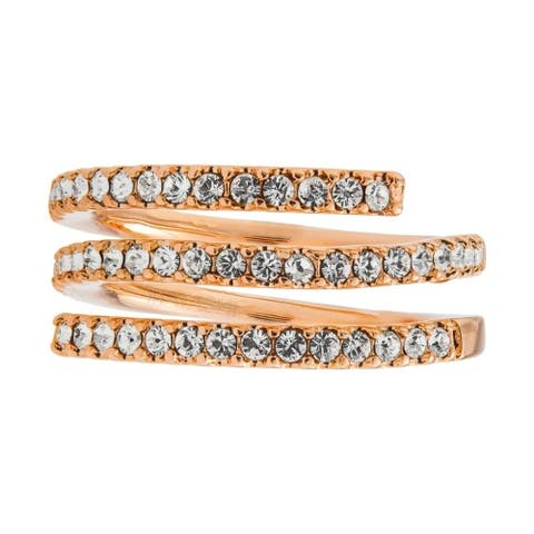 Rose Gold Plated Luxury Coiled Ring Designed with Sparkling Crystals by Matashi (Size 5,6,7)