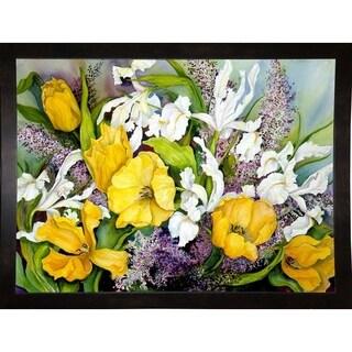 "Yellow Tulips, White Iris And Heather-JOAPOR4853 Print 27.75""x37.25"" by Joanne Porter"