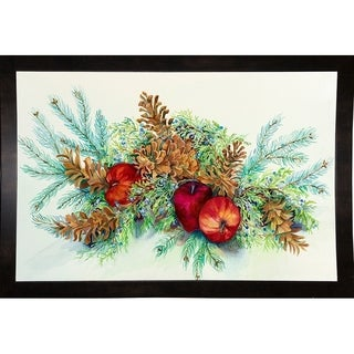 """Winter Greens With Apples-JOAPOR74335 Print 11.75""""x18"""" by Joanne Porter"""