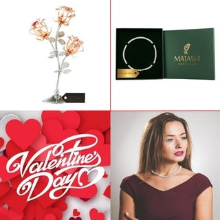 """Matashi KTMTFLT2 Rose Gold and Chrome Plated Rose Flower with 16"""" Rhodium Plated Necklace"""