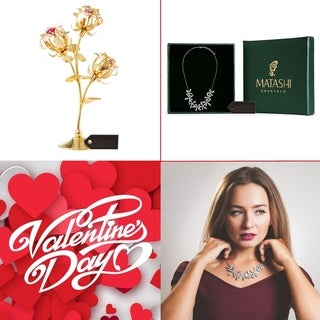 """Matashi KTMTFLT19 24k Gold Plated Rose Flower Table Ornament Combo w/Rhodium Plated Necklace w/ 12"""" Extendable Chain"""