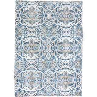 """Grand Bazaar Anata Blue/Tan Rug (2' x 3'9"""") - 2'3"""" x 3'9"""""""