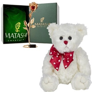 Matashi Loving Flower Ornament Dipped in Gold Bearington Lovable Plush Stuffed Animal Teddy Bear Lovable Gift Idea