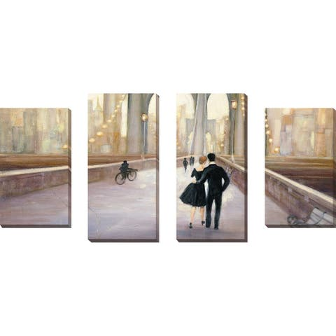 """Bridge to NY IV"" by Julia Purinton Set of 4 Print on Canvas - Brown"