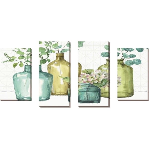 """Mixed Greens LXII"" by Lisa Audit Set of 4 Print on Canvas - Green"
