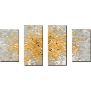 """""""Summer Blocks with Gray"""" Set of 4 Print on Canvas - YELLOW"""