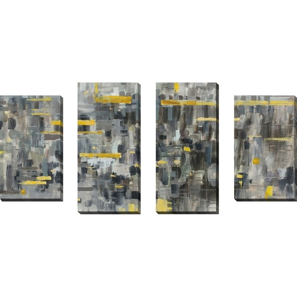 """""""Reflections Crop"""" Set of 4 Print on Canvas - gray"""