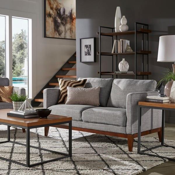 Shop Carson Carrington Siauliai Linen Upholstered Sofa or ...