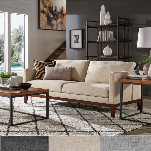 shop vail linen upholstered sofa and loveseat by inspire q modern rh overstock com