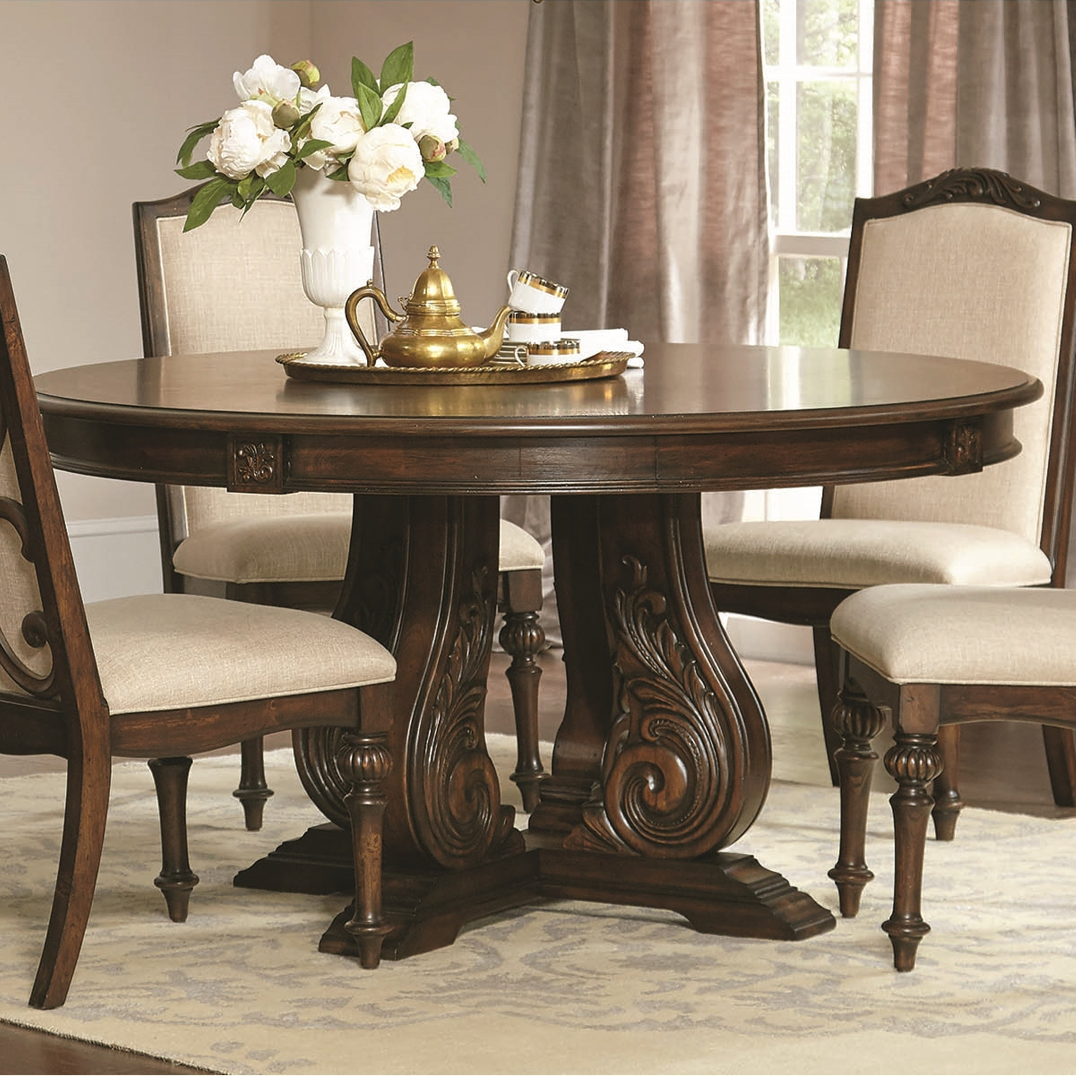 La Bauhinia French Antique Carved Wood Design Round Dining Table