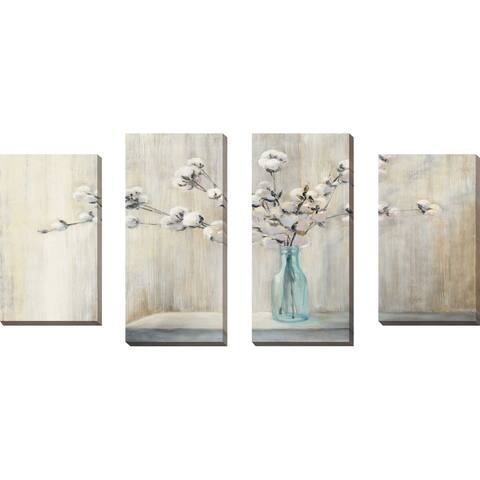 """Cotton Bouquet"" by Julia Purinton Set of 4 Print on Canvas - gray"