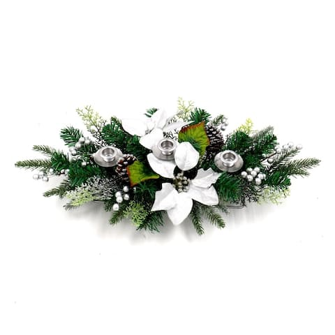 ALEKO Garland Swag Centerpiece with 3 Candlestick Holders Green and Silver