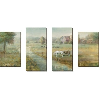 """""""Tranquil Farm"""" Set of 4 Print on Canvas - Green"""