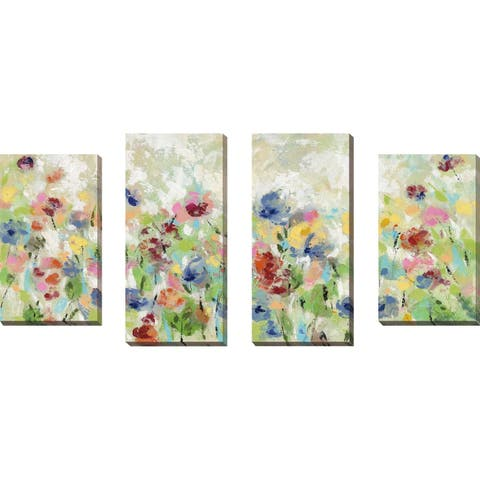 """Springtime Meadow Flowers"" by Silvia Vassileva Set of 4 on Canvas - Green"
