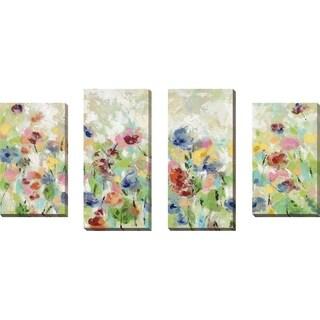"""Springtime Meadow Flowers"" by Silvia Vassileva Set of 4 on Canvas - Green"