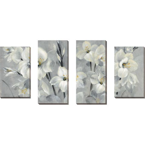 """Flowers on Gray"" by Silvia Vassileva Set of 4 Print on Canvas - gray"