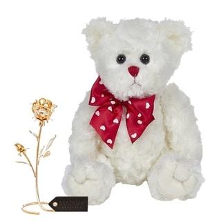 "Matashi KTMTFLT37 Loving Flower Ornament Dipped in 24K Gold Bearington Lil Lovable Plush Stuffed Animal Teddy Bear 11"" - 11 Inch"