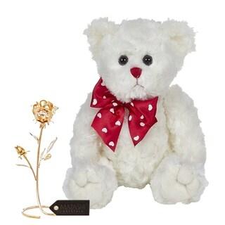 "Matashi KTMTFLT37 Loving Flower Ornament Dipped in 24K Gold Bearington Lil Lovable Plush Stuffed Animal Teddy Bear 11"""