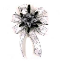 """ALEKO Statement Holiday Bow Christmas 12.5"""" Swag White and Silver"""