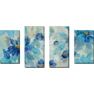 """Blue Flowers Whisper I"" by Silvia Vassileva Set of 4 Print on Canvas - Blue"