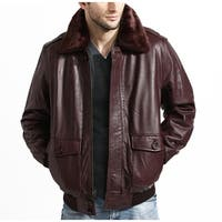 Men's Burgundy Aviator Lambskin Bomber Jacket with Detachable Collar