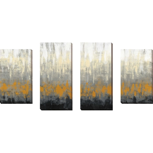 """Rain on the Asphalt IV"" by Silvia Vassileva Set of 4 Print on Canvas - gray"