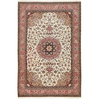 Hand Knotted Tabriz Silk & Wool Area Rug - 6' 6 x 10'