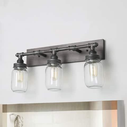 LNC 3-Light Dark Pewter Vanity Lights Bathroom Wall Sconces