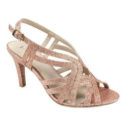 Women's Rialto Randie Strappy Sandal Rose Gold Glitter Fabric (More options available)