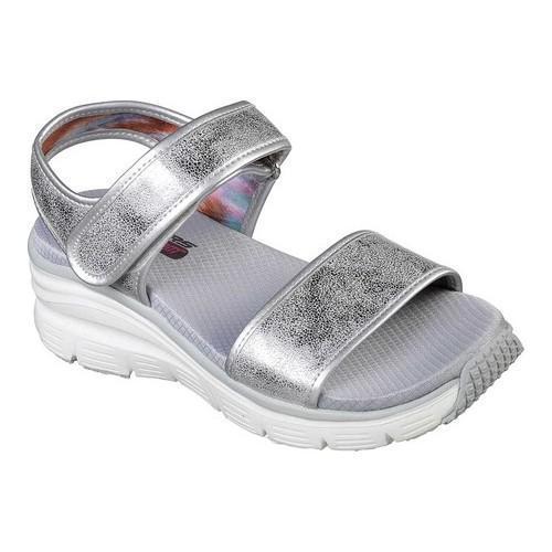 Women's Skechers Wedge Appeal Brush Off Ankle Strap Sandal Silver